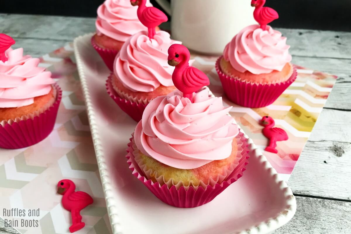 Homemade Flamingo Cupcakes with Pink and White Swirl Batter