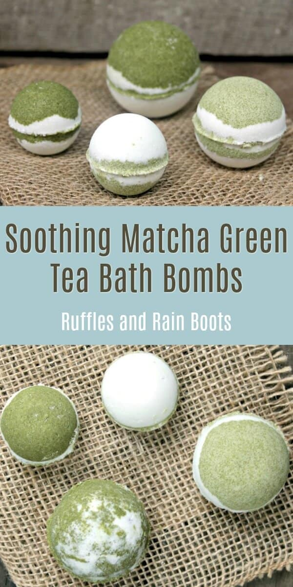 Make these matcha green tea bath bombs for their antioxidant properties. And they smell AMAZING! #bathbombs #bathbombrecipes #DIYbathbombs #greentea #matcha #DIYbath #DIYBeauty #rufflesandrainboots