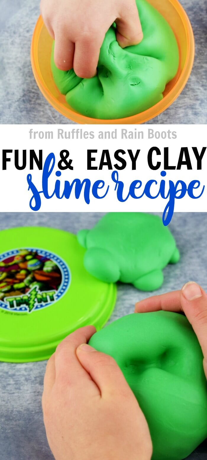 green butter slime using Model Magic on light gray background with text which reads run and easy clay slime recipe