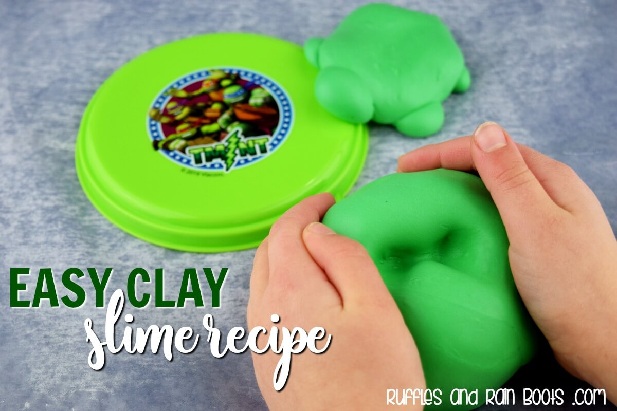 green butter slime recipe made with model magic on gray background with text which reads easy clay slime recipe