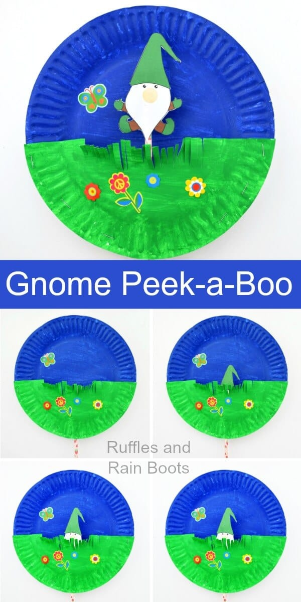 Make this adorable and fun peek-a-boo gnome paper plate craft. The kids will have a blast, work on scissor skills, and make their very own gnome puppet! #gnomes #gnomecraft #holidaygnome #gardengnome #printable #puppets #pinitforlater #puppetforkids #diypuppet #peekaboocrafts #paintingforkids #paperplatecraft #rufflesandrainboots