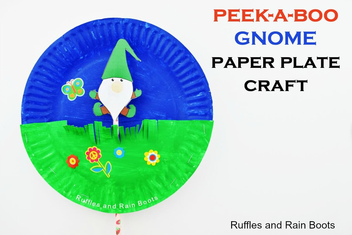 Fun gnome paper plate craft for kids peek a boo craft