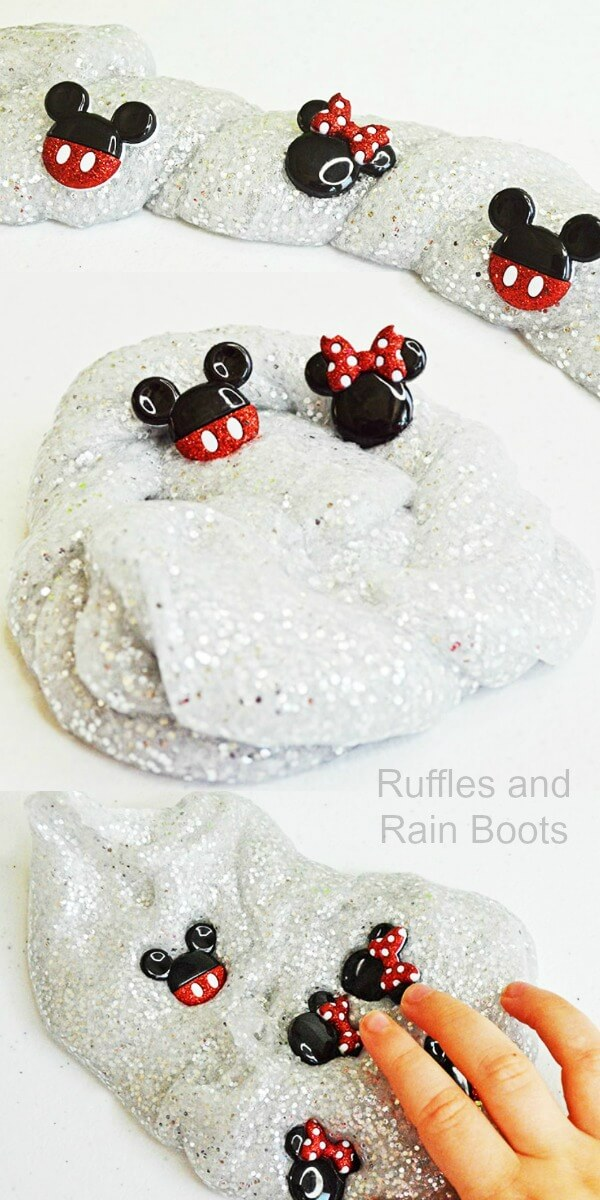 This easy Mickey Mouse slime is a simple glitter slime recipe perfect for young kids. Bring science to preschoolers with this fun slime. #slime #slimerecipe #easyslime #slimeforkids #slimeforpreschool #MickeyMouse #MickeyMousecrafts #diymickeymouse #disneycrafts #disneyslime