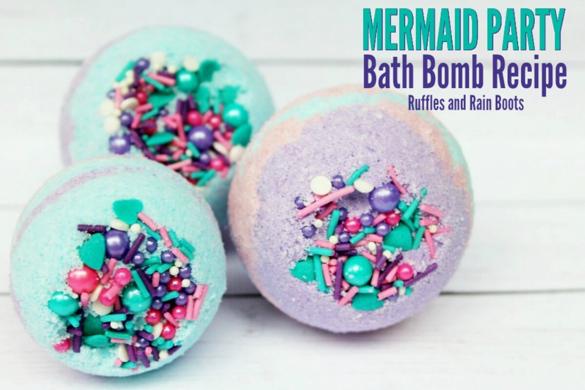 very colorful bath bombs in teal, purple, and pink topped with cupcake sprinkles with text which said mermaid party bath bomb recipe