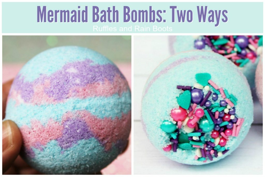 Make mermaid bath bombs two ways for a great DIY gift idea for mermaid lovers. #mermaids #bathbombs