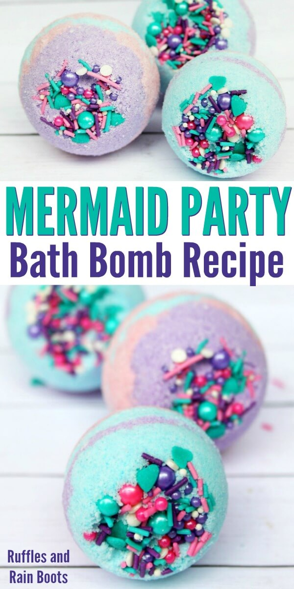 Mermaid bath bombs are amazing to gift, get, or keep yourself! This easy bath bomb recipe will have you making multi-colored bath bombs in no time! #bathbombs #mermaids #sprinklebathbombs #bathbombrecipe #DIYbath #diybeauty #bathbombgiftideas #handmadegifts #rufflesandrainboots