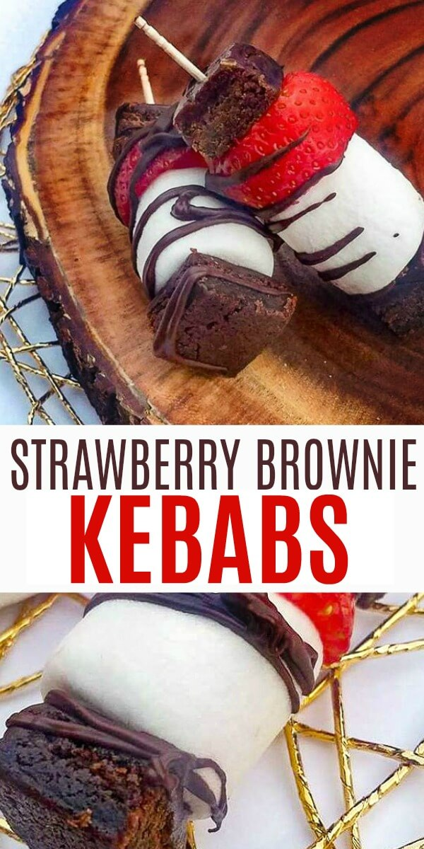 These fast, easy, and guest-worthy strawberry brownie kebabs are the perfect dessert on a hot day. #strawberry #strawberryrecipes #strawberrydesserts #easydesserts #dessertideas #strawberryseason #kebabs #dessertkebabs #treatkebabs #foodonastick #browniebites #strawberrybrownie #rufflesandrainboots
