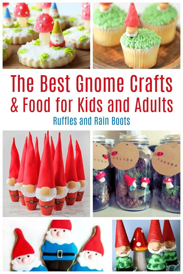 Check out these adorable gnome crafts for kids (and adults). From food to fun, these gnomes are sure to bring the smiles. #pinitforlater #gnome #gnomes #kidcrafts #kidscrafts #craftsforkids #gnomeparty #gnomeo #gardengnomes #rufflesandrainboots