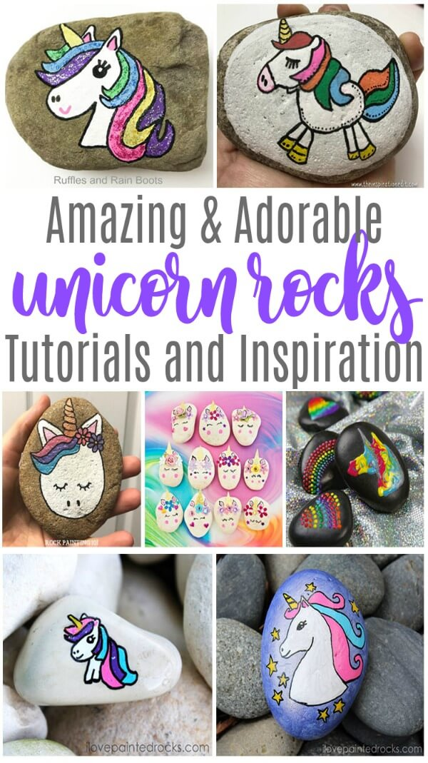 These amazing unicorn rock painting ideas will leave you inspired and creative. #unicorns #unicornparty #unicornrocks #rockpainting #rockpainting101 #rockpaintingideas #paintedstones #paintedpebbles #rockpaintingtips #rufflesandrainboots