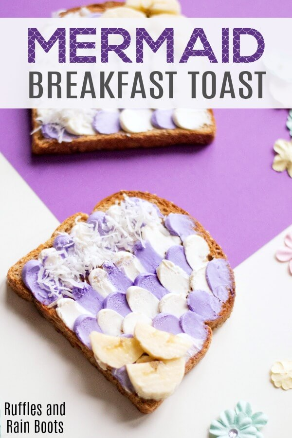 This mermaid toast is perfect for any mermaid loving little one. It's easy to make and would be a great surprise for a mermaid birthday! #mermaids #mermaid #mermaidfood #mermaidparty #mermaidpartyideas #mermaidlover #mermaidideas #diymermaid #rufflesandrainboots