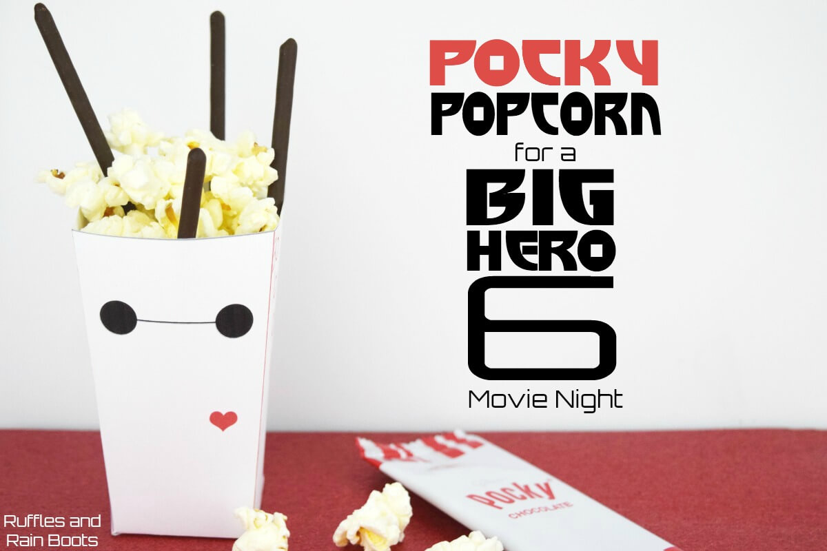 Make this Pocky Popcorn for a fun twist on a classic. Sweet and salty combine for a fun, kid-friendly treat. #popcorn #popcornrecipes #pocky #pockyrecipes #madewithpocky #bighero6 #familymovienight #movienight #rufflesandrainboots