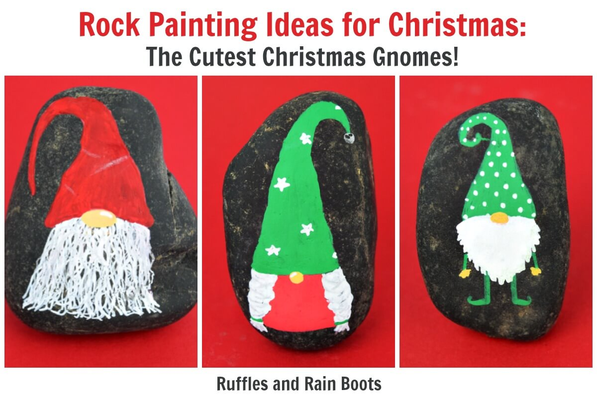 Christmas Gnome Rock Painting Ideas - Rock Painting 101