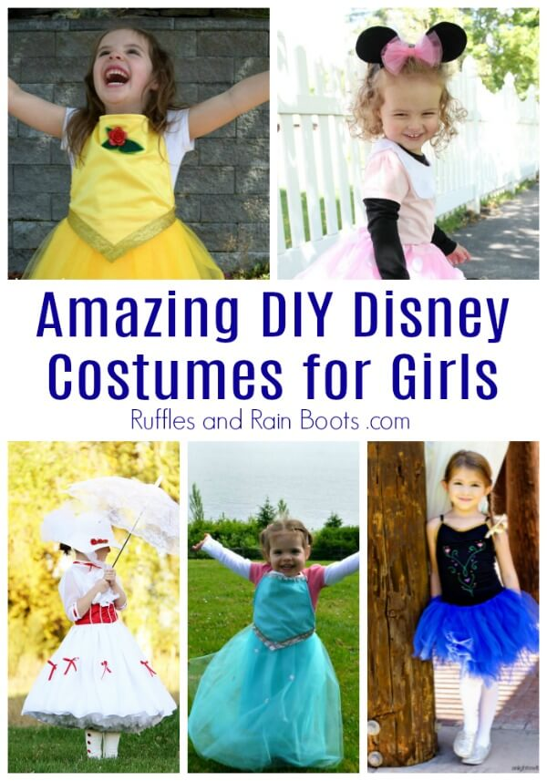 From quick and easy to sewing and a little planning, these DIY Disney costumes for girls are sure to please. #disneycostumes #disneyprincess #diydisney #Halloween #halloweencostumes #diycostumes #dressup #rufflesandrainboots