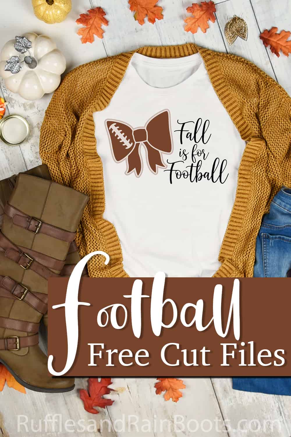 white t-shirt with a fall cut file on it with a sweater and boots with text which reads football free cut files