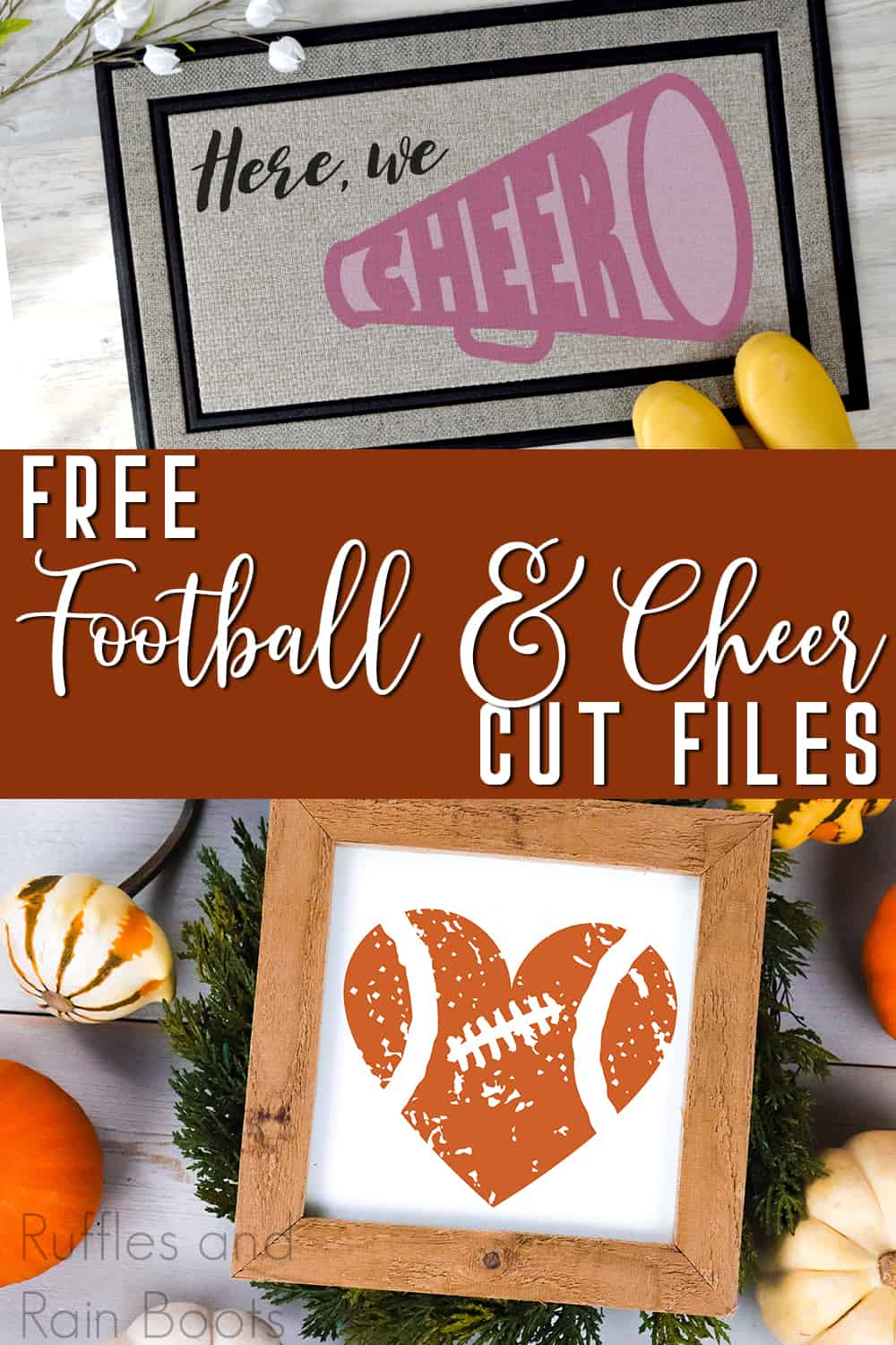 photo collage of football related SVGs with text which reads free football & cheer cut files