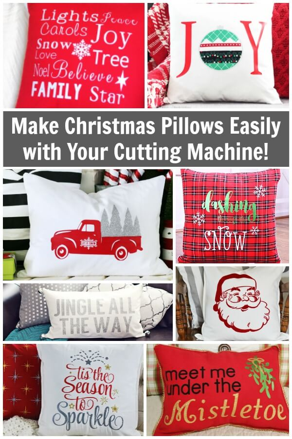 Cricut Christmas Pillow Projects - Make these handmade pillows with holiday SVGs and your cutting machine. #christmas #cricutprojects #cricut #handmade #handmadeholidays