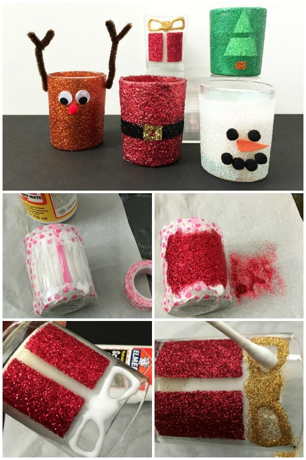 You can make these easy DIY Christmas candles in no time. Grab some votives and glitter and let's get started with this fun Christmas decorating idea. #christmas #christmascrafts #diychristmas #handmadeholiday #glittercandles #christmascandles #diychristmasdecor #christmasdecor #christmasdecorations #rufflesandrainboots