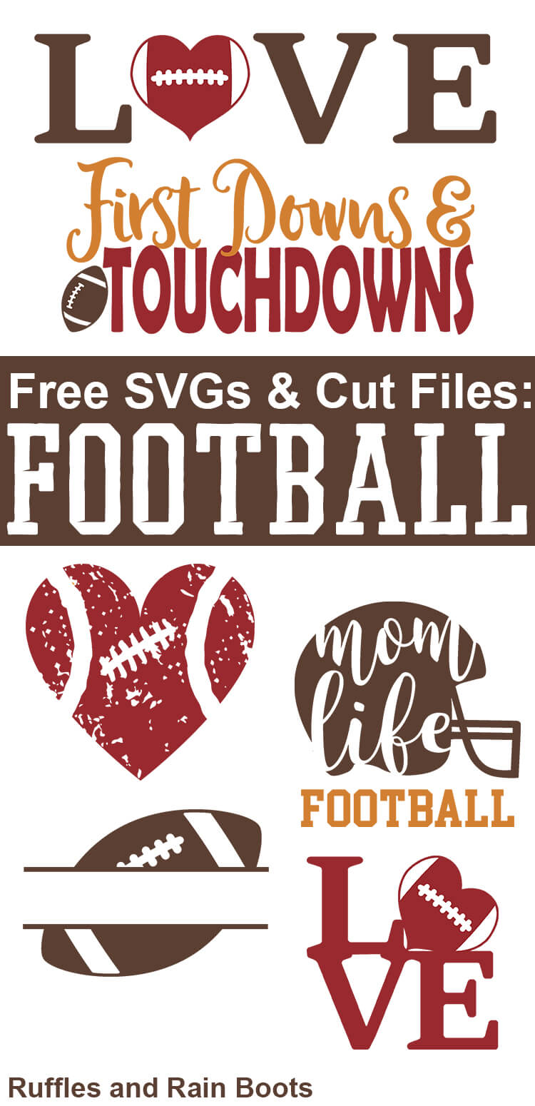 Free Football SVGs and cut files for football season. Any football fan would love to receive a gift with these. #handmade #freesvg #freecutfiles #silhouette #cricut #cuttingfiles #footballseason #footballgifts #giftsforfootballlovers #cutfileprojects #rufflesandrainboots