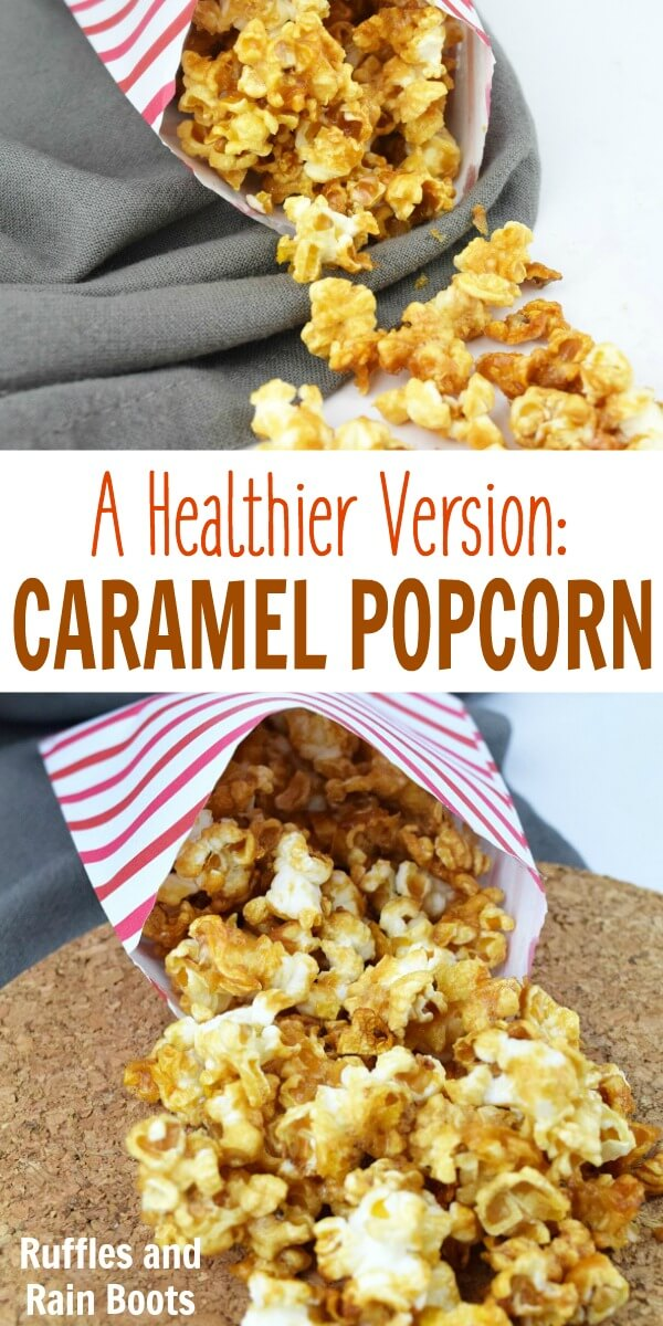 Healthy caramel popcorn for a clean take on the corn syrup version. This is an easy recipe and works perfectly for a Harry Potter movie night! #caramelpopcorn #caramelcorn #popcornrecipes #popcorn #harrypotter #movienight #butterbeer #easyrecipes #rufflesandrainboots