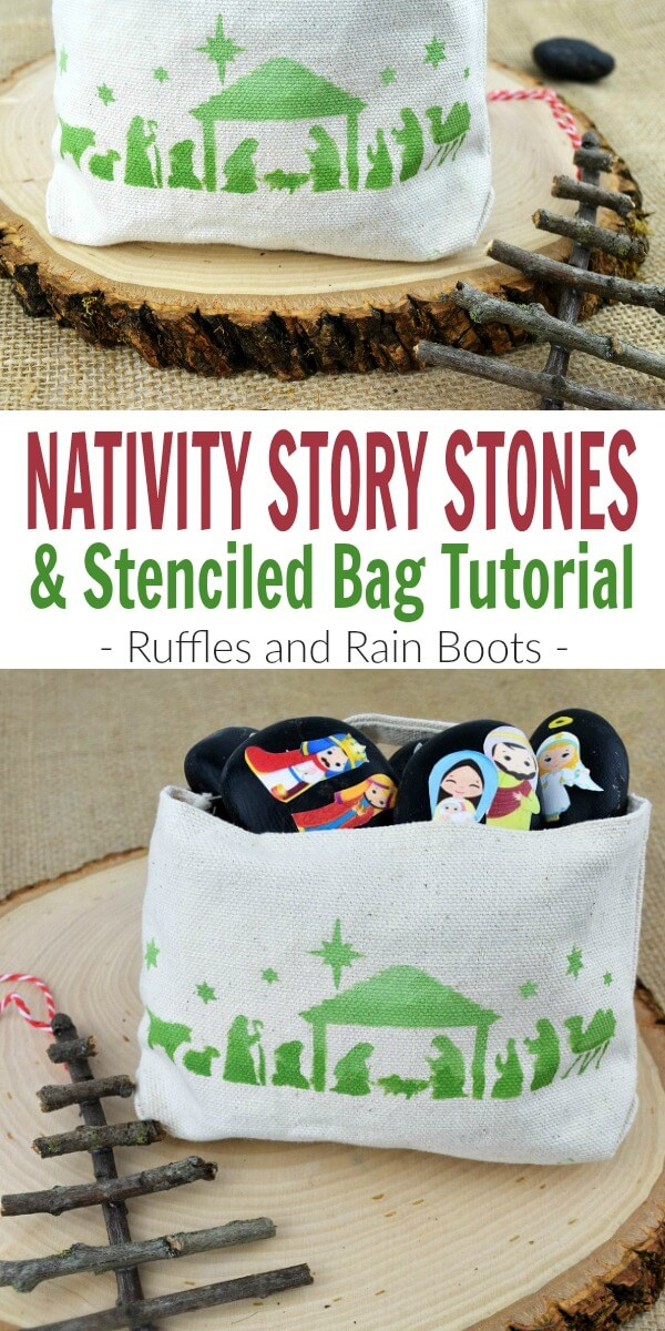 Make these nativity story stones and this nativity scene bag with no art skills needed! Stencils and clipart will have you creating this look in less than 20 minutes for the little one in your life. #storystones #christmas #diychristmas #diygiftideas #giftsforkids #handmadeholidays #rockpainting #paintedstones #paintedpebbles #rockart #montessori #rufflesandrainboots