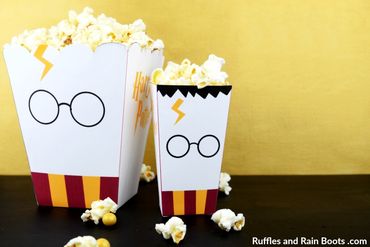 Printable Harry Potter Popcorn Box from Ruffles and Rain Boots - Two Sizes
