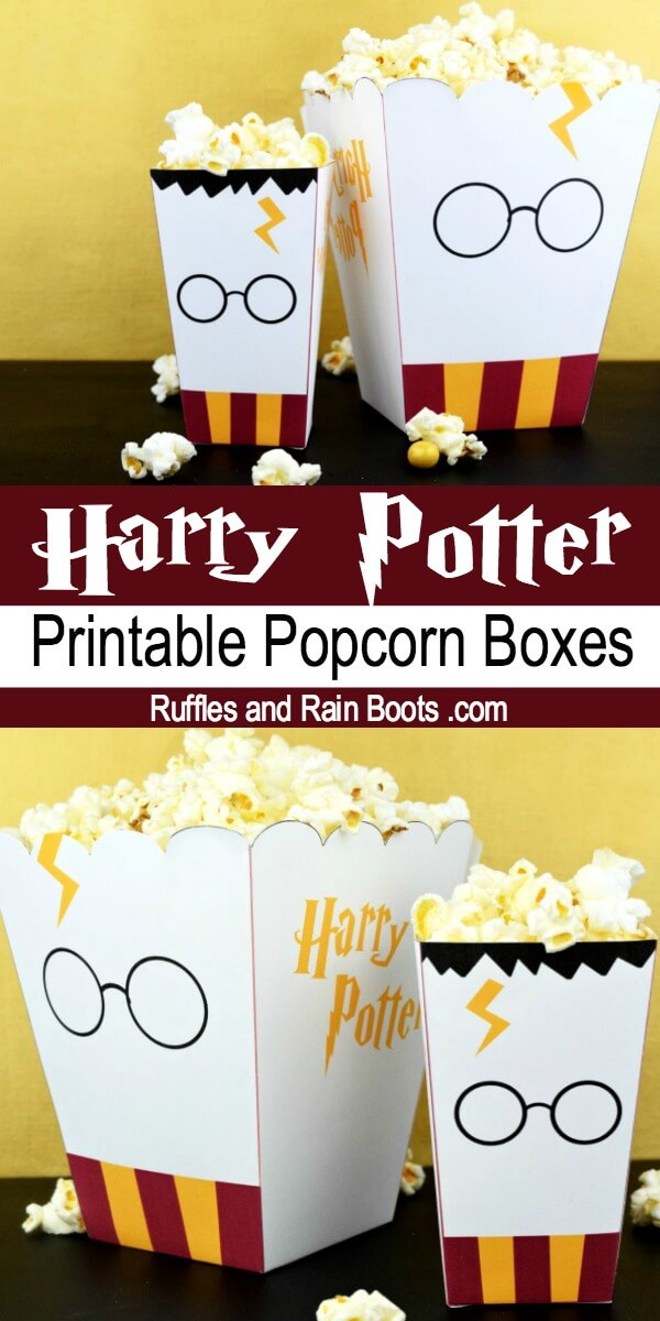 Get a free printable Harry Potter popcorn box and take family movie night to the next level. #harrypotter #potterheads #wizardingworld #harrypottermovie #movienight #familymovienight #freeprintable #popcornbox #harrypotterparty #rufflesandrainboots