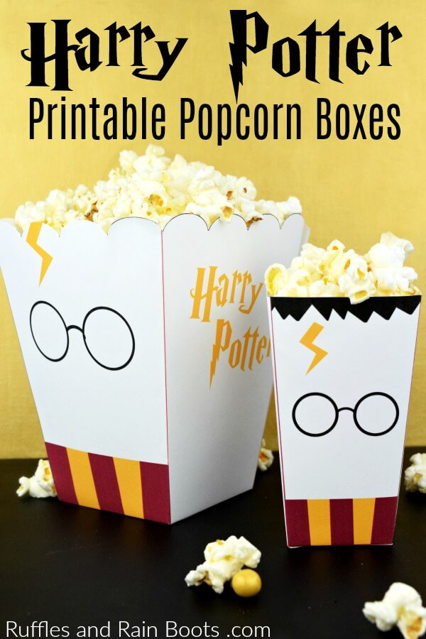 Get these free printable Harry Potter popcorn boxes and take family movie night to the next level. #harrypotter #potterheads #wizardingworld #harrypottermovie #movienight #familymovienight #freeprintable #popcornbox #harrypotterparty #rufflesandrainboots