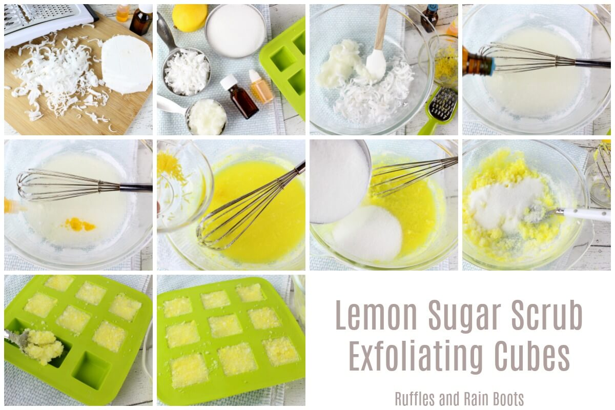 step by step tutorial to make sugar scrub in cube form for ease of use and gifts