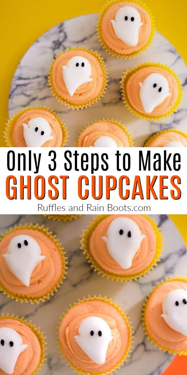 Make these adorable ghost cupcakes in just a few steps. There is even an easy icing recipe ready in just a couple of minutes! #ghostcupcake #Halloweencupcake #cupcakeideas #icingrecipe #easyicing #easyicingforcupcakes #rufflesandrainboots