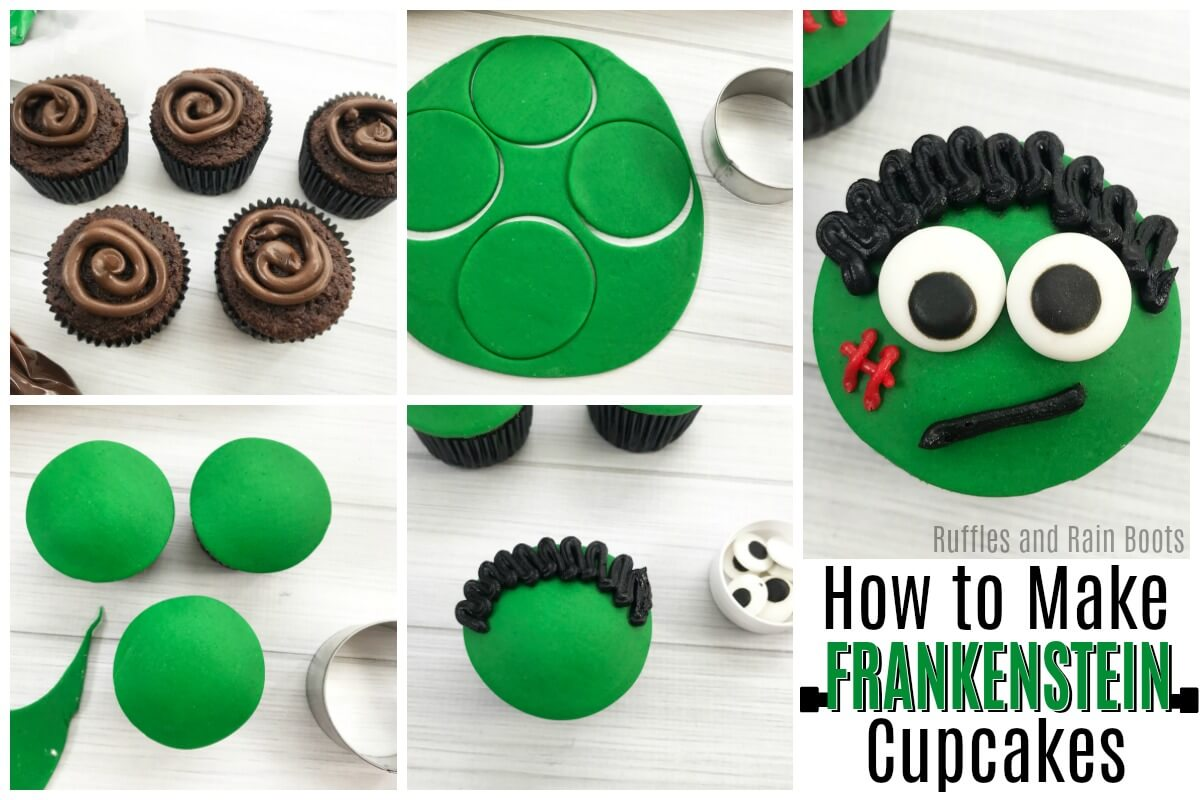Learn how to make easy Halloween Frankenstein cupcakes - perfect for a Halloween party, trunk or treat idea, or Halloween movie night