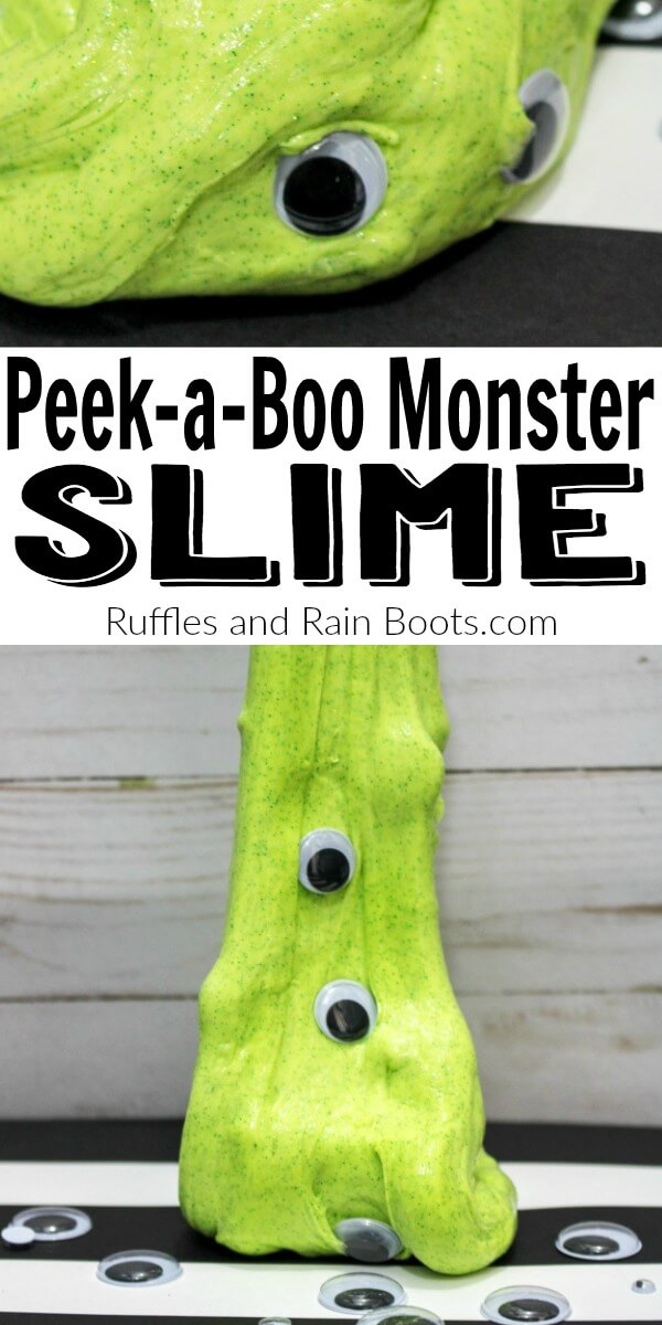 Make this fun monster slime using no Borax at all! It's quick to come together and monster slime is great for Halloween, monster parties, and even movie nights. #slime #slimerecipes #awesomeslime #halloween #halloweenslime #googlyeyes #rufflesandrainboots