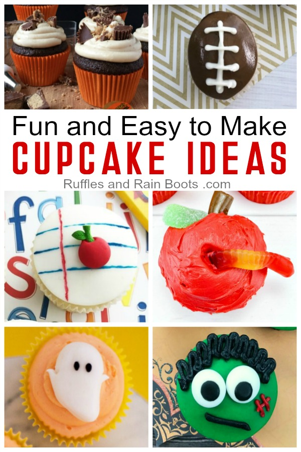 Make these fun and ridiculously easy cupcake ideas from Ruffles and Rain Boots #cupcakes #cupcakeideas #cupcakerecipes #partycupcakes #rufflesandrainboots