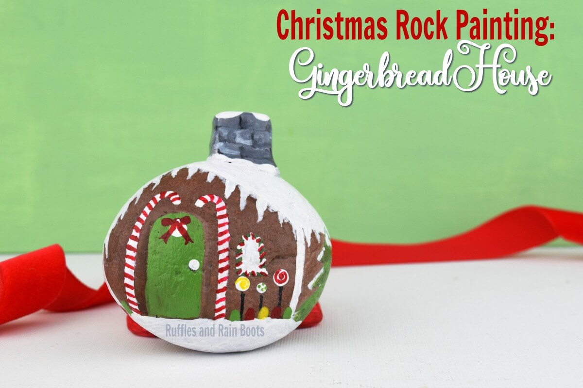 Gingerbread House Rock Painting Idea for Christmas