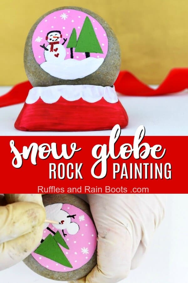 Make this fun snow globe rock painting idea for a fun take on a Christmas rock. #rockpainting #paintedstones #rockpaintingidea #christmasrocks #snowglobe #rufflesandrainboots