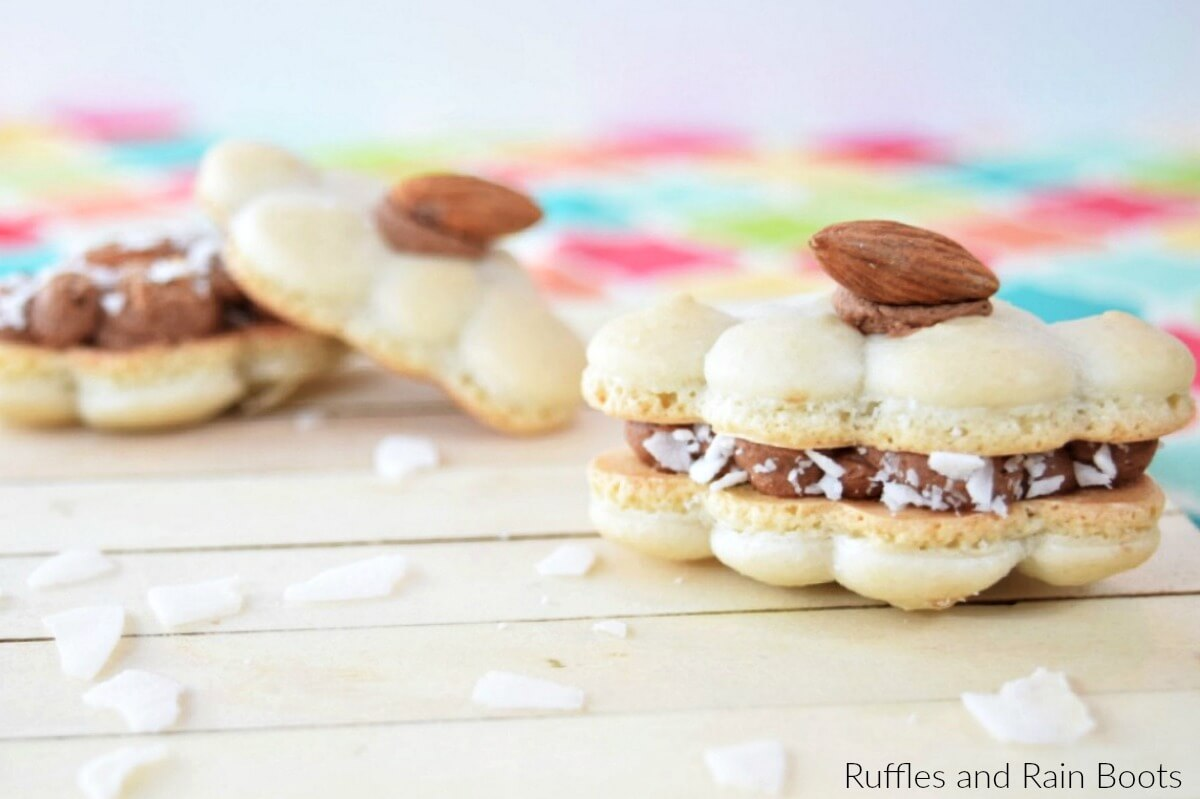 Learn how to make a macaron cookie recipe that tastes just like an Almond Joy candy bar!