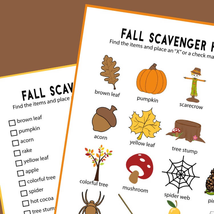 Fall Scavenger Hunt Printable (Set of 2)