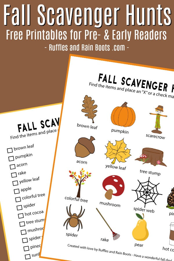 Fall Scavenger Hunt Printable for Two Age Groups!