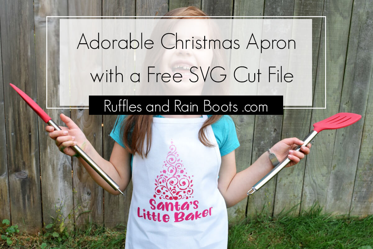how to make a stenciled kids Christmas apron for kids and Christmas baking kit