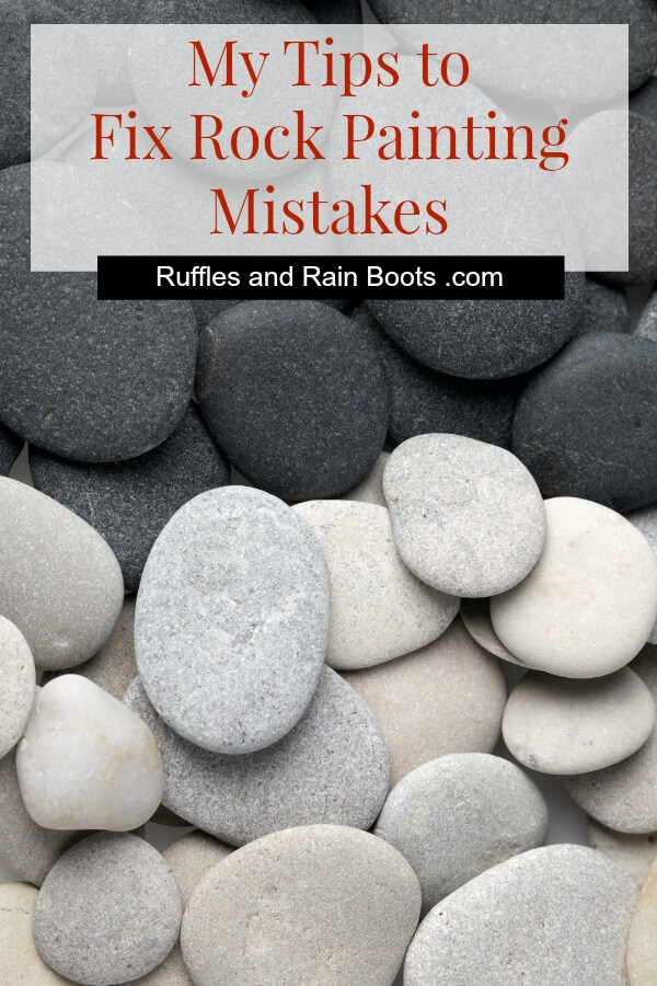 Learn how to fix rock painting mistakes and correct drawing, painting, and sealant problems. #rockpainting #paintedstones #rockart #stoneart #paintedpebbles #rockpainting101 #paintandhide #rockhiding #rufflesandrainboots