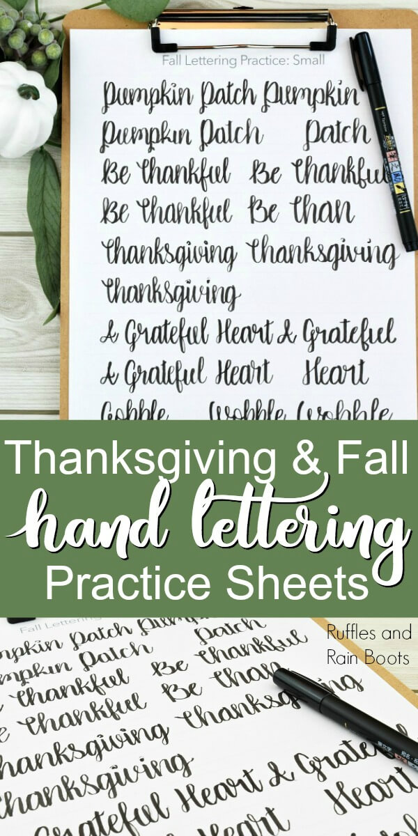 Fall hand lettering practice on clipboard with pumpkin and greenery