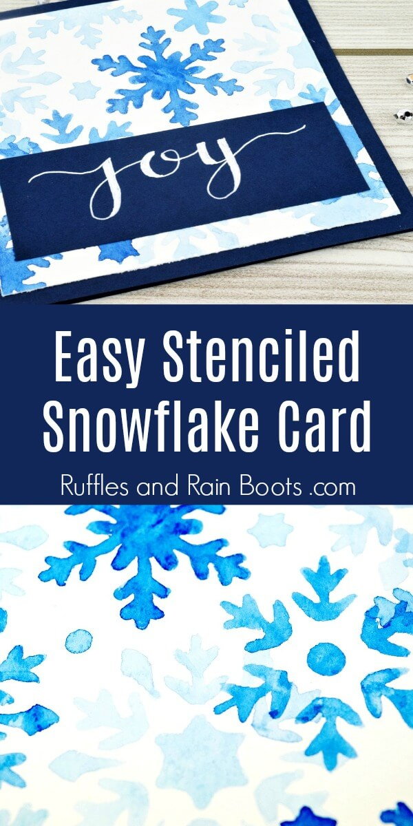 picture of card and close up of watercolor with text easy stenciled snowflake card