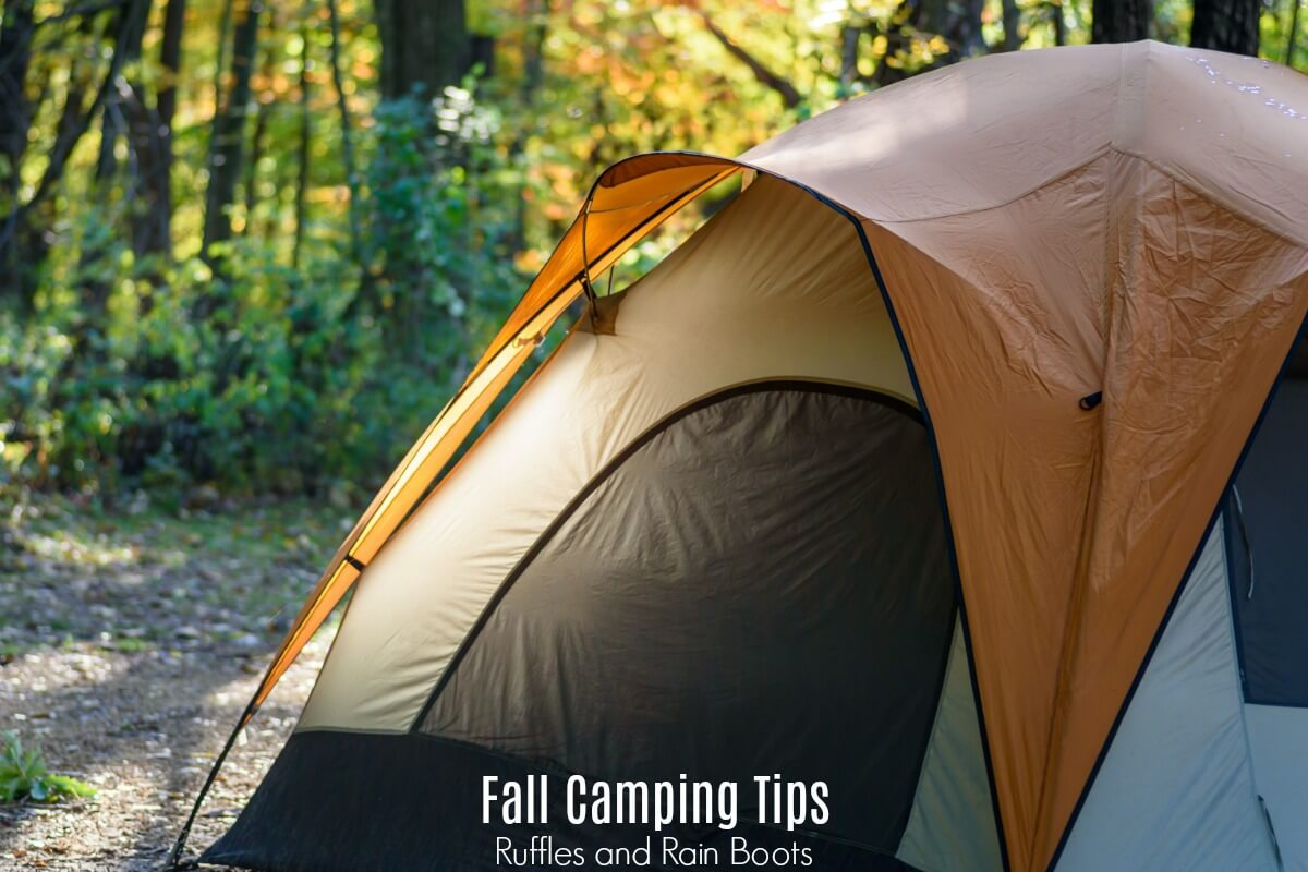 tent in autumn with the text fall camping tips