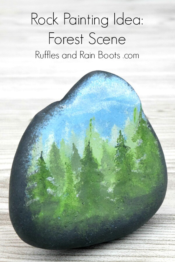 forest rock painting on wood background