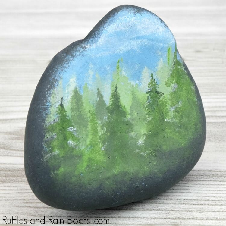 Fall Forest Rock Painting Idea