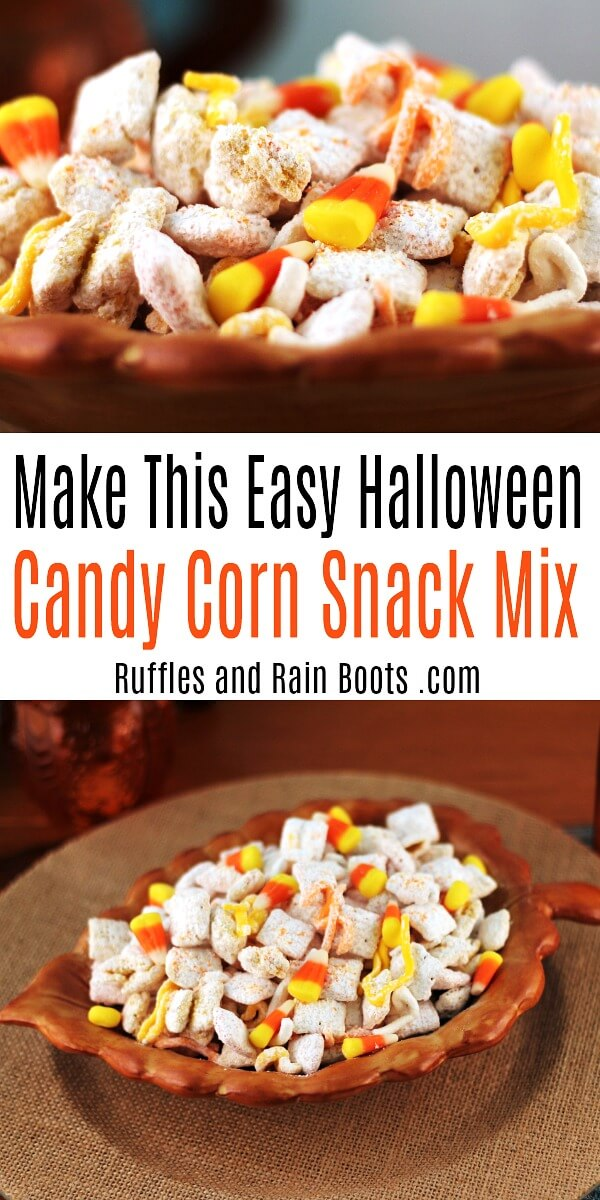 Halloween snack mix chocolate free with the text make this easy halloween candy corn snack mix