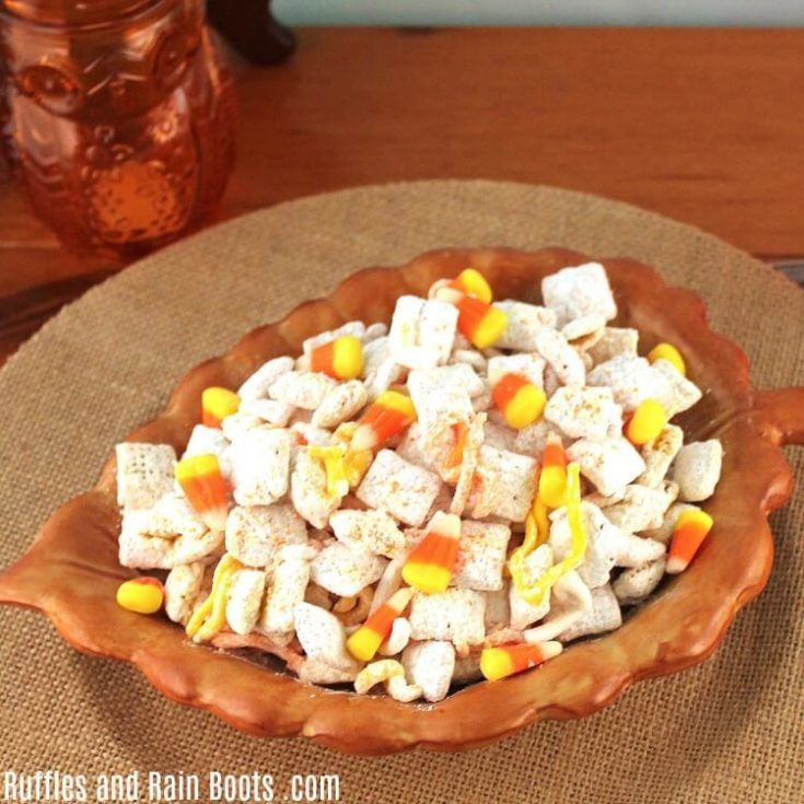 Candy Corn Chex Mis in an acorn shaped bowl with the text Ruffles and Rain Boots .com
