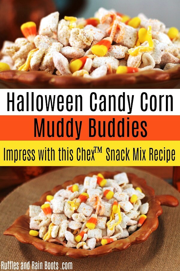 photo collage of a fall candy corn Chex mix snack recipe with text Halloween Candy Corn Muddy Buddies