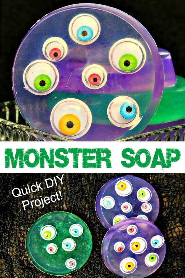 close up of purple googly eyed melt and pour monster soap for kids