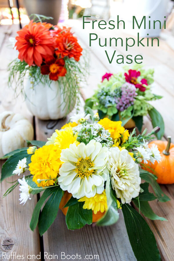 dollar store pumpkin vase for fall centerpiece on wooden table