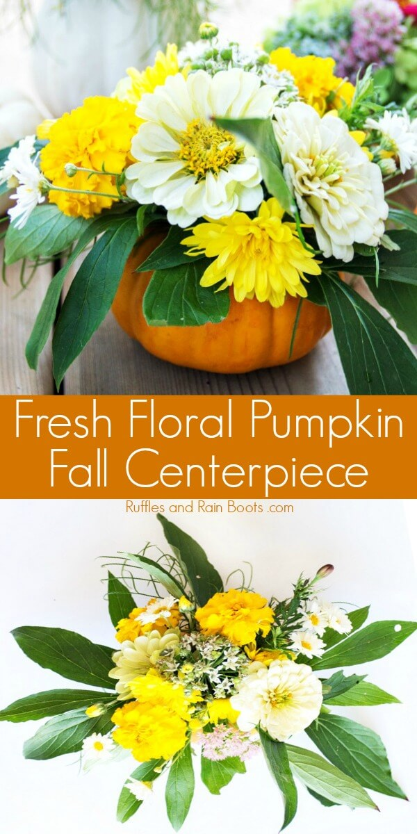 photo collage of fresh flowers in a pumpkin vase with text which reads fresh floral pumpkin Fall centerpiece